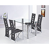 G&P Furniture 5 Piece Garda Rectangular Dining Set - Black