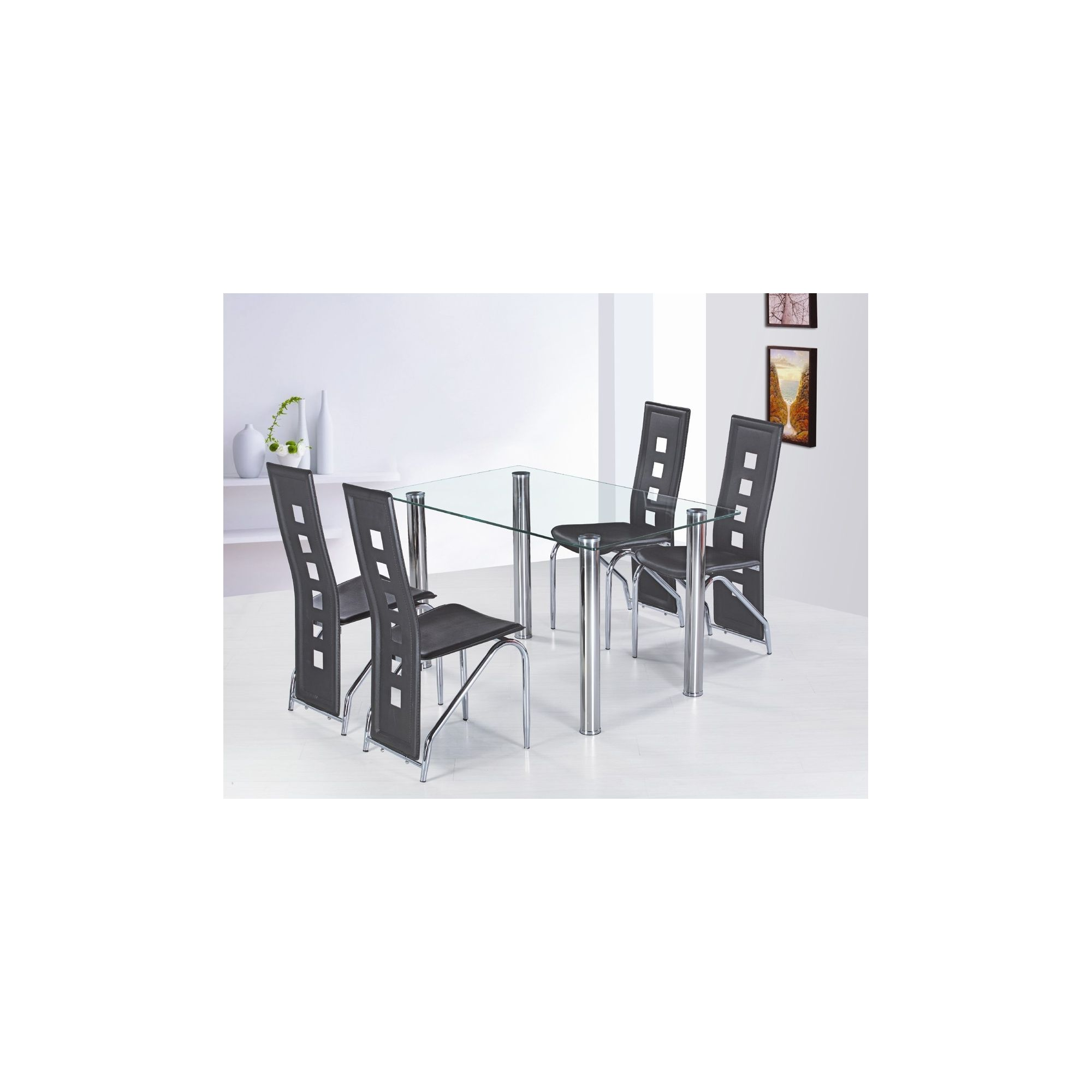 G&P Furniture 5 Piece Garda Rectangular Dining Set - Black at Tesco Direct
