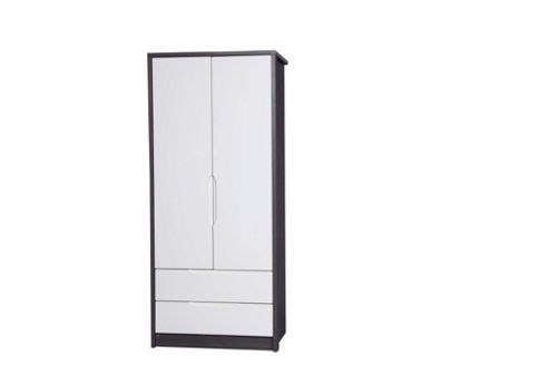 Alto Furniture Avola 2 Drawer Combi Wardrobe - Grey Avola Carcass With Cream Gloss