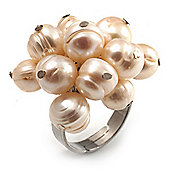 Ivory Freshwater Pearl Cluster Ring (Silver Tone)