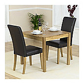Mark Harris Solid Oak Dining Set with 2 Brown Chairs