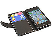 iTALKonline 16936 Black Wallet Case with Credit Card Holder - Apple iPod Touch 4G