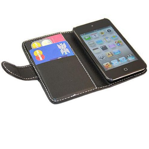 iTALKonline 16936 Wallet Case with Credit Card Holder - For Apple iPod Touch 4G - Black
