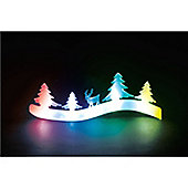 Battery Operated Acrylic Tree & Reindeer Scene with Col-Changing LEDs