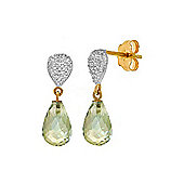 QP Jewellers Diamond & Green Amethyst Shield Droplet Stud Earrings in 14K Gold