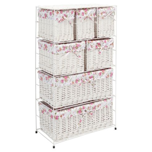 Tesco White Wicker Lined 7 Drawer Tower