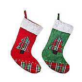 Set of Two Red & Green Fabric Christmas Stockings
