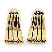 Gold Plated Triangular Clip-On Earrings - 2cm Length