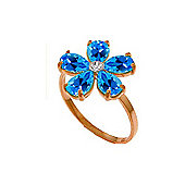 QP Jewellers Diamond & Blue Topaz Foliole Ring in 14K Rose Gold