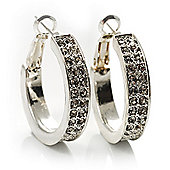 Silver Tone Crystal Hoop Earrings (25mm Diameter)