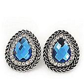Burn Silver Sky Blue Jewelled Teardrop Stud Earrings - 3cm Length