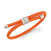 Jewelco London Sterling Silver - Burnt Orange Leather Wristpiece - Bangle - Ladies