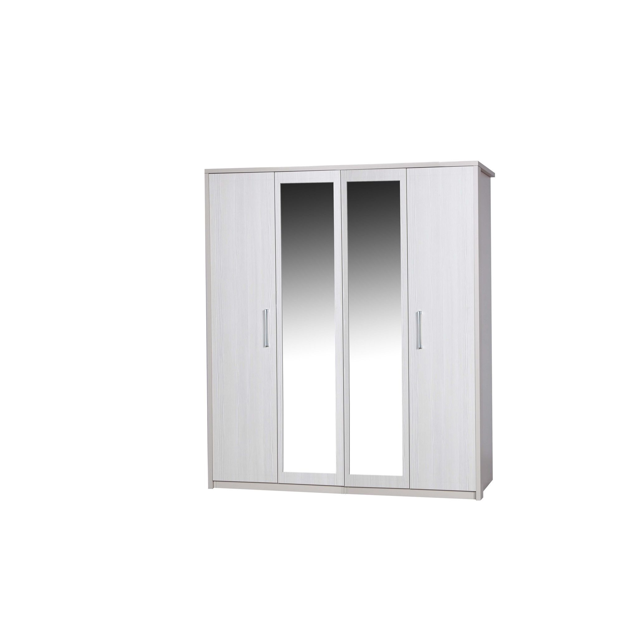 Alto Furniture Avola 4 Door Wardrobe with Mirror - Grey Carcass With White Avola at Tesco Direct