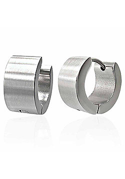 Urban Male Brushed Finish Stainless Steel Hinged Hoop Earrings for Men