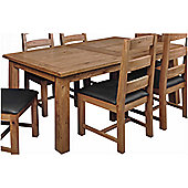 Origin Red Newland 7 Piece Solid Oak Dining Table Set