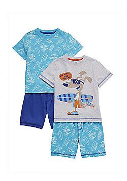 F&F 2 Pack of Surf Dog Shorts Pyjamas - Blue