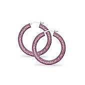 Jewelco London Sterling Silver Cubic Zirconia Candy style Crushed Ice Hoop Earrings - Pink