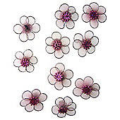 Mesh Flowers Pink 12pcs