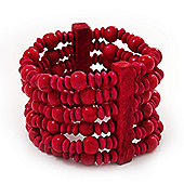 Fuchsia Multistrand Wood Bead Bracelet - up to 18cm wrist