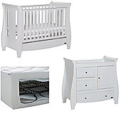 Tutti Bambini Katie 2 Piece + Sprung Mattress Nursery Room Set - White