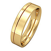 Jewelco London 9ct Yellow Gold - 5mm Essential Flat-Court with Fine Groove Band Commitment / Wedding Ring -