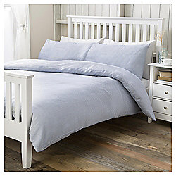 Basics Blue Ticking Stripe Double Duvet Set
