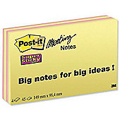 Post-it Super Sticky Meeting Notes Pads of 45 Sheets 149x98.4mm Bright Colours 6445-SSP [Pack 4]