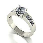 18ct White Gold 6.5mm Moissanite Single Stone Ring with Channel Set Shoulders