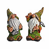 Pair of Standing Woodland Resin Garden Gnome Ornaments in Rustic Coloured Finish