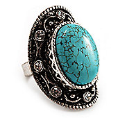 Dome Shaped Turquoise Style Diamante Fashion Ring (Burn Silver Tone)