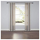 Chevron Lined Eyelet Curtains - Taupe