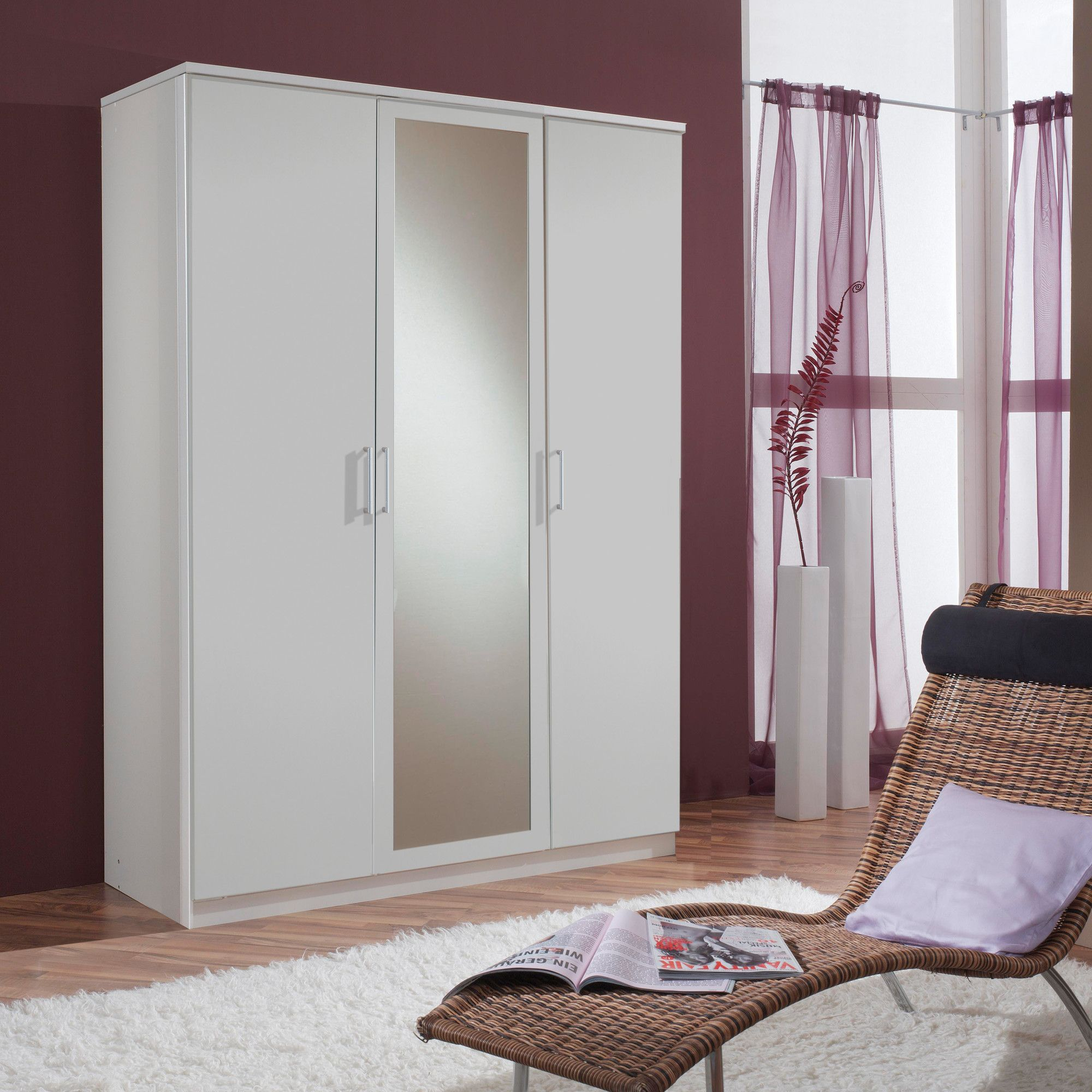 Amos Mann furniture Venice 3 Door Wardrobe - White at Tesco Direct