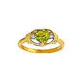 QP Jewellers Diamond & Peridot Halo Heart Ring in 14K Gold