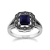 Gemondo 925 Sterling Silver 0.58ct Lapis Lazuli & Marcasite Art Deco Ring
