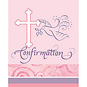Faithful Dove Pink Confirmation Card Invitations (8pk)