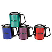 Summit Double Walled Camping Mug with Lid Clip Carabiner Handle, 300ml
