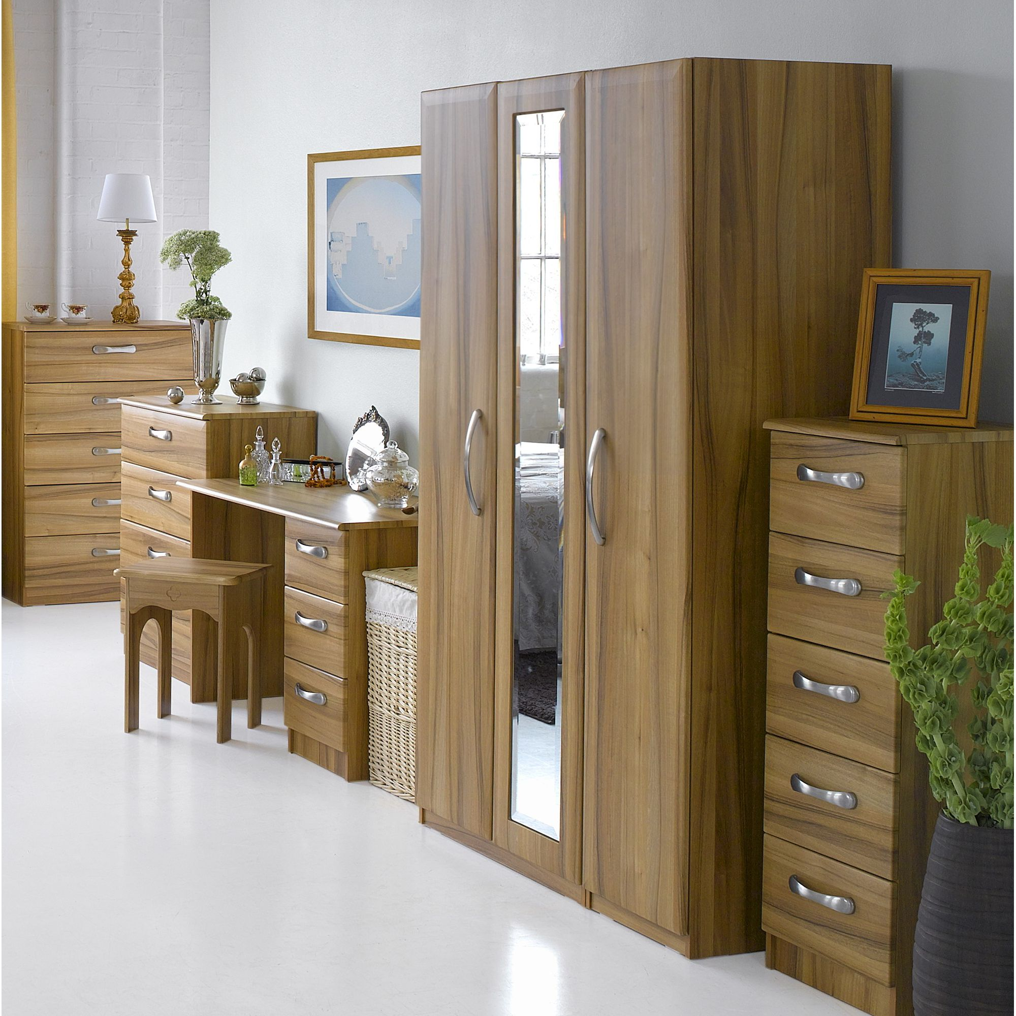 Alto Furniture Visualise Tipolo Three Door Wardrobe in Golden Walnut at Tesco Direct