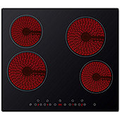ElectriQ 60cm Touch Control 4 Zone Vitro Ceramic Black Glass Hob