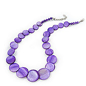 Purple Shell Necklace In Silver Plating - 40cm Length/ 3cm Extension