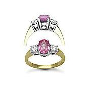 Jewelco London 18 Carat Yellow Gold 3 Stone Diamond-48pt Pink Sapphire 1.50ct Ring