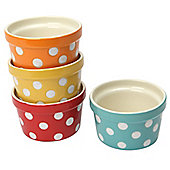 Dexam Polka Dot Round Stoneware Ramekins, Set of 4