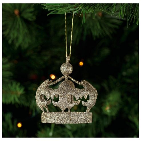 Tesco Crown Hanging Christmas Bauble Decoration
