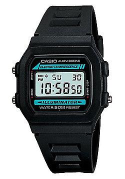 Casio Casio Mens Resin Alarm Day & Date Stopwatch Watch W-86-1VQES