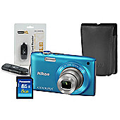 DS Nikon Coolpix S3300 Blue Camera Kit inc Leather Case, 8GB SD & USB Card Reader