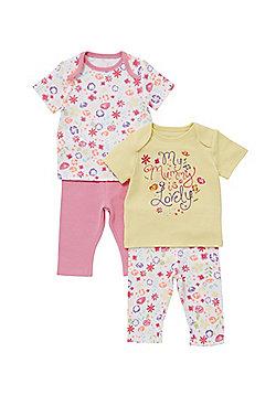 F&F 2 Pack of Lovely Mummy Slogan Mix and Match Pyjamas - Multi