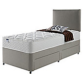 Silentnight Miracoil Luxury Micro Quilt Non Storage Single Divan Mink with Headboard