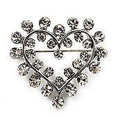 Tiny Crystal Open Heart Brooch (Silver Tone Metal)