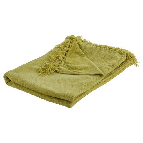 Tesco Chenille Throw Green 125X160Cm