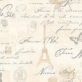 Calligraphy Paris Postcard Wallpaper - Neutral - 97750
