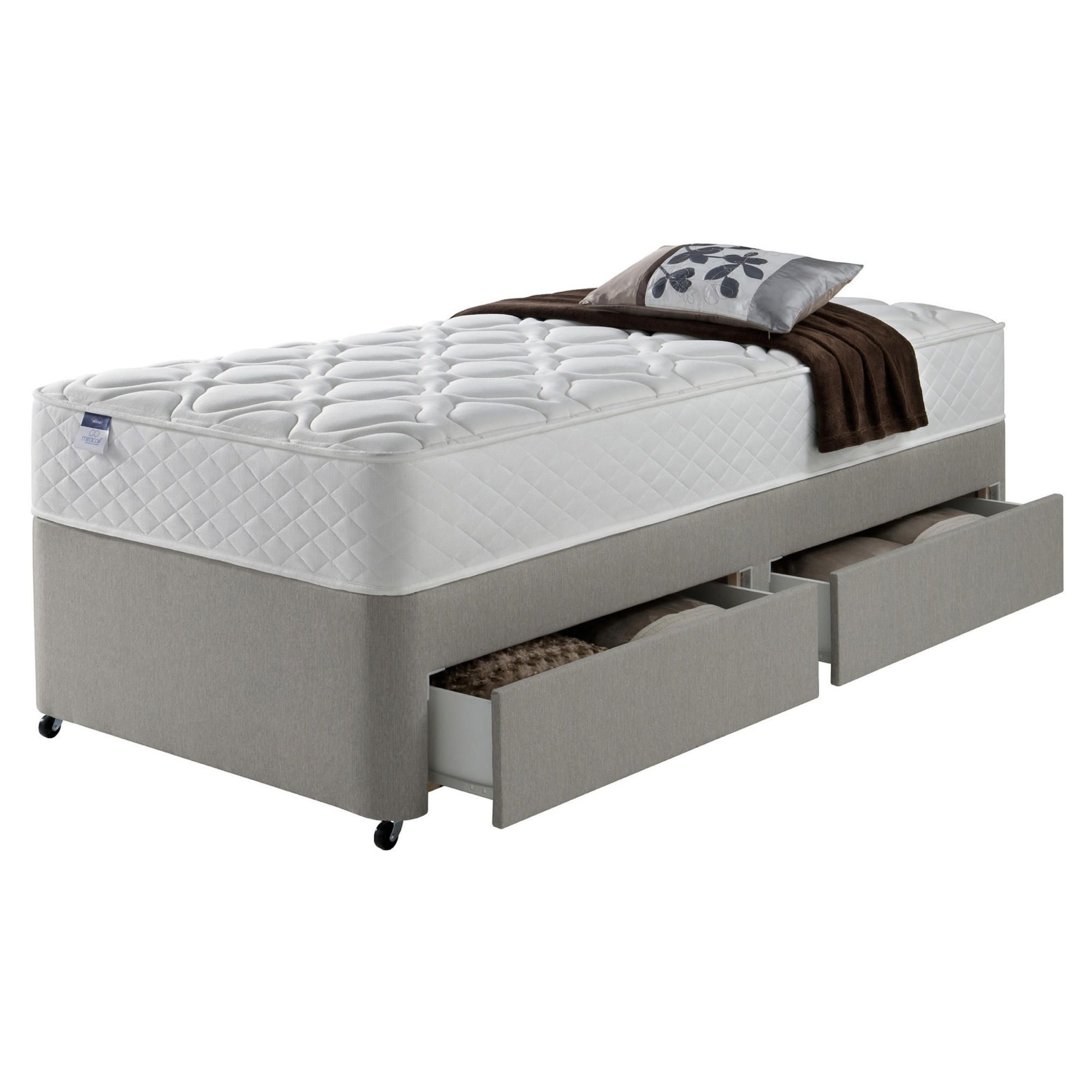 Silentnight Miracoil Luxury Micro Quilt 2 Drawer Single Divan Mink no Headboard at Tesco Direct